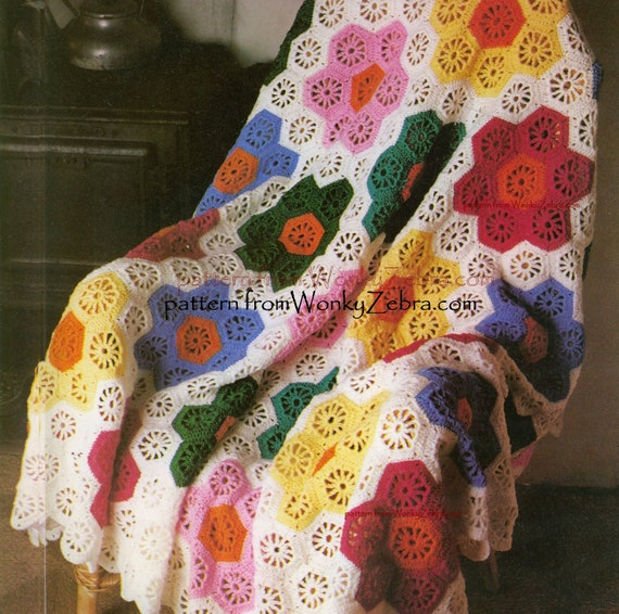 Vintage Crochet Blanket Pattern Grandmothers garden  Hexagon  Hexagonal Flower Afghan Blanket WZ262 PDFfrom WonkyZebra