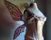 Natural Fairy Wings Wedding Halloween Costume Faerie Reenactment Fantasy Renaissance Custom Cellophane