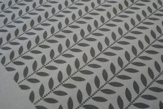 Dotty Leaves - hand screen printed fabric in warm grey