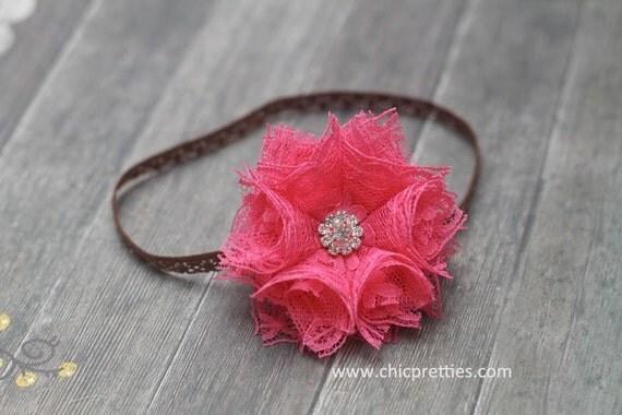 SALE SALE Babv Girl Headband Gorgeous Hot Pink Lace Flower with Rhinestone Center on Skinny Lace Headband