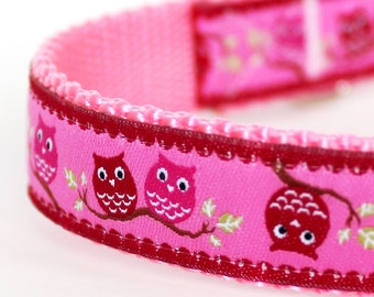 Pair of Owls Dog Collar, Pink,  Adjustable Pet Collar, Girl Dog Collar