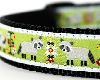 Raccoon Dog Collar on Green,  Adjustable Pet Collar, Folk Print Ribbon Collar