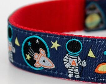Astronauts in Space Dog Collar, Rocket Ship Pet Collar, Stars Moon Collar