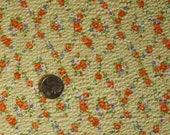 Vintage 1970s Novelty Fabric  Sweet Tiny Rose Vines Summer Seersucker Orange and Yellow
