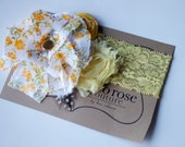rosette clustered headband in yellow floral with cream lace and mustard rosettes for photo shoots back to school m2m
