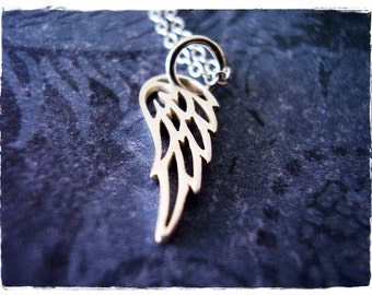 Tiny Silver Filigree Angel Wing Necklace - Sterling Silver Filigree Angel Wing Charm on a Delicate Sterling Silver Cable Chain or Charm Only