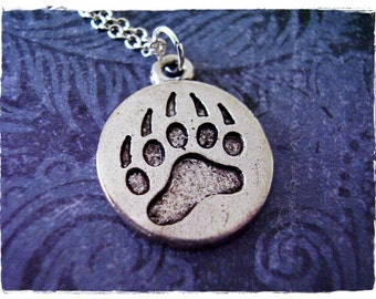 Round Bear Paw Print Necklace - Antique Pewter Bear Paw Print Charm on a Delicate Silver Plated Cable Chain or Charm Only