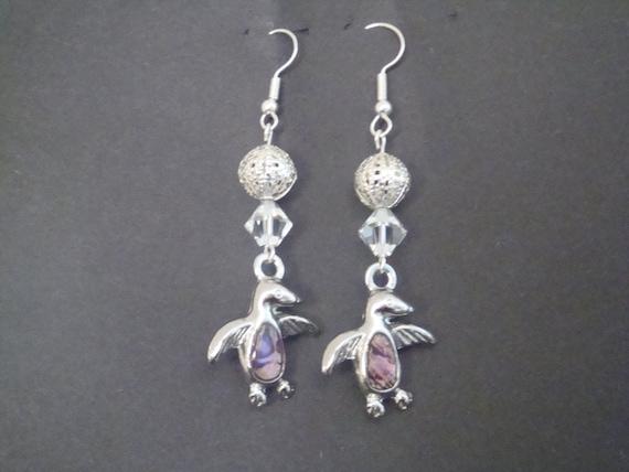 silver penguin earrings
