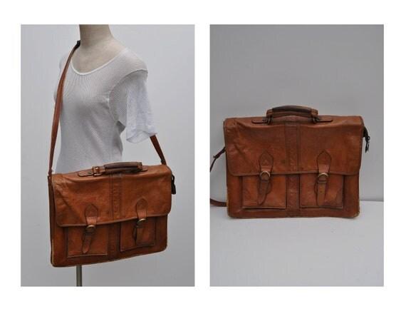 vintage leather bag satchel briefcase tote ipad case messenger bag laptop bag