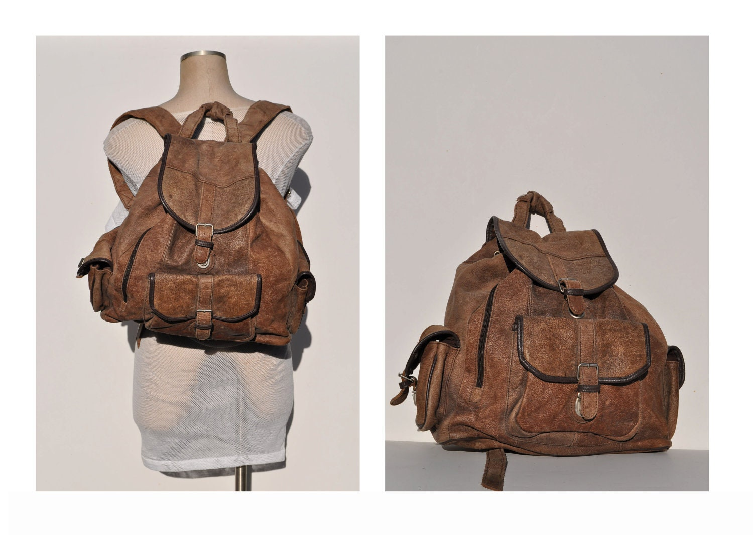 Distressed Leather Backpack - Crazy Backpacks