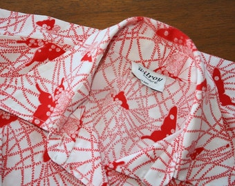 Vintage 1970s Red and White Butterfly Print Blouse