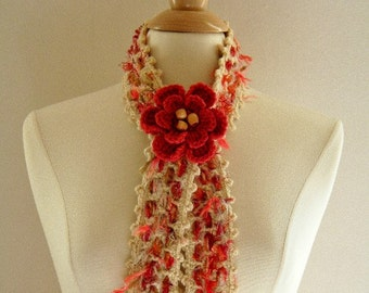 Crochet Scarf Neckwarmer Women Woven Beige and Shades of Rust and Burnt Orange with Flower and Eyelash Yarn