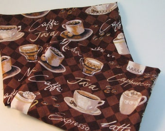 Reusable Brown Coffee Snack Bags, Set of Two