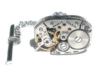 Steampunk Tie Tack,Men's Formal Wear, Ruby Jeweled,Vintage Watch Movement,Antique Watch,Tie Accessories,Watch Work Cosplay Fashion