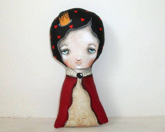 Whimsical art folk art doll The queen of hearts painting Mixed media art doll soft sculpture - The queen of hearts