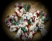 Primitive Winter Christmas Holiday Wrapped Candy Canes With Mica Set Of 5