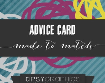 Tipsy Graphics ADD ON. Made to Match. Printable Advice or Recipe Cards to Coordinate with any design in the shop