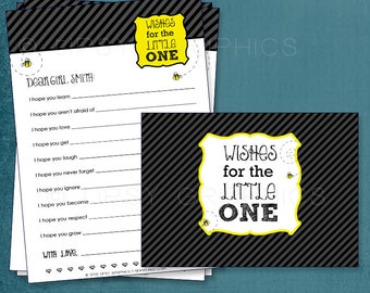 Baby Wishes. BEE. Bumble Bee Theme. MAD LIB MadLib Adlib Printable Cards. By Tipsy Graphics