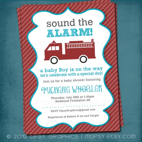 Sound the Alarm. Little Red Firetruck Baby Shower or Party Invite by Tipsy Graphics. Any colors