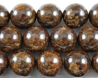 32 pcs 12mm round smooth bronzite beads