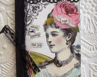Altered Mini Composition Notebook/Journal Victorian Women Black Antique Lace Ribbon