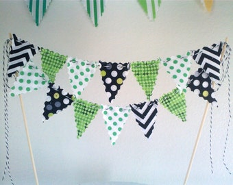 Cake Bunting Modern Prints in Green, Black and White Chevron, Dots