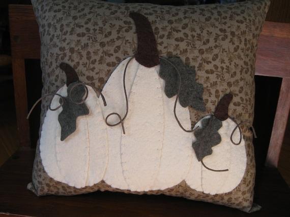 White Pumpkins Applique Pillow...3 dimensional