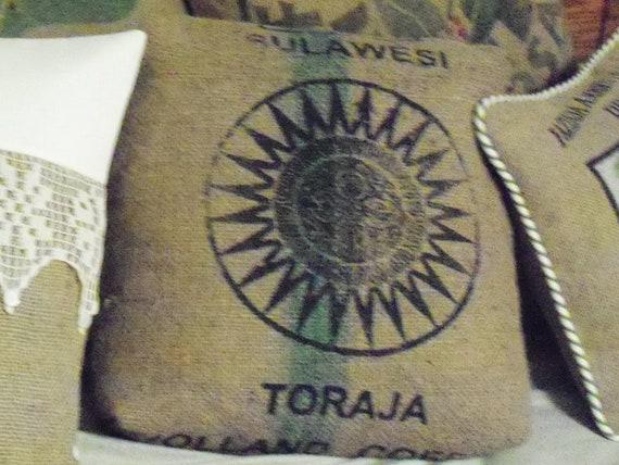 burlap coffee sack pillow cover