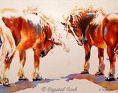 Colorful Horse Art Belgian Draft horses whimisical expressive original watercolor illustration