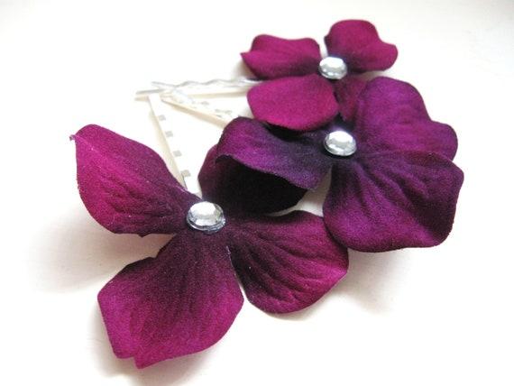 Plum Purple Hydrangea Flower hair pins pair