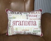 Grandma pillow - custom made fabric 12x16 pillow with your names and colors