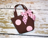 Pink and Brown Polka Dot Toddler Tote - Can Be Personalized