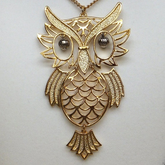 vintage articulated gold owl pendant necklace from by