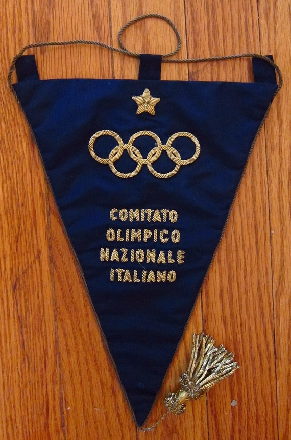Vintage Italian National Olympic Committee Flag Pennant Banner