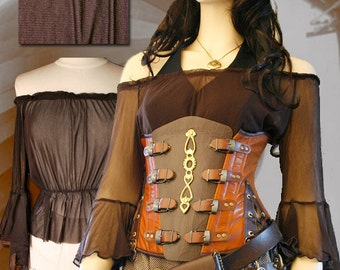 Brown Steampunk Victorian Sheer Under Corset Blouse M