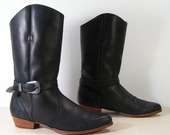 dexter harness boots womens 8 m b black leather cowgirl western engineer cowboy pointy toe recycled
