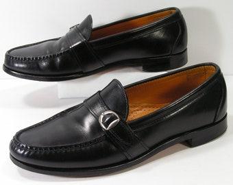 allen edmonds dress shoes mens 10 C black buckle loafers fairmont leather