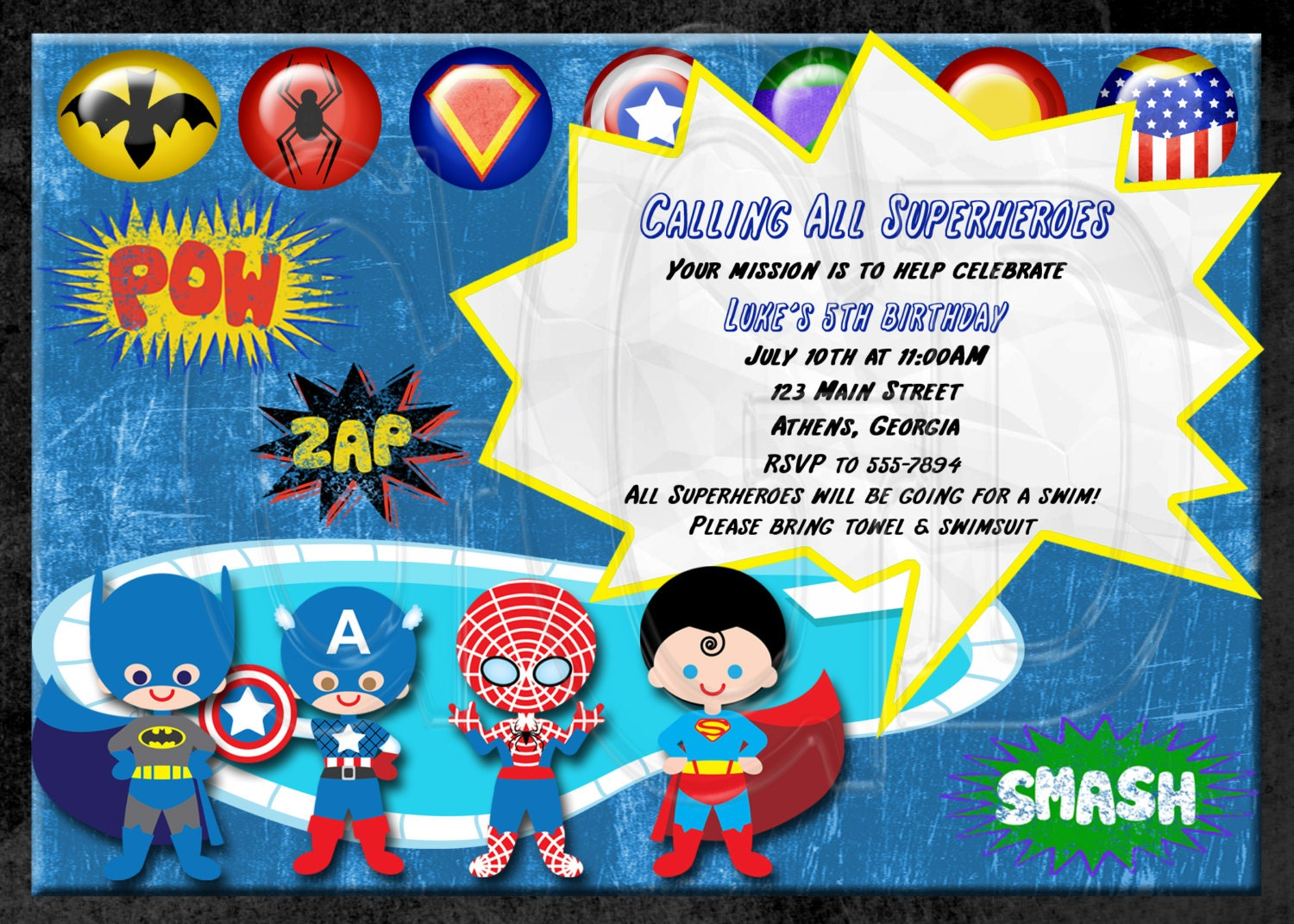 Super Hero Party Invitations Boxed Birthday Greeting Cards - Birthday invitation template superhero