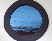 Blue Water Mirror with Graphite Gray Frame - Large