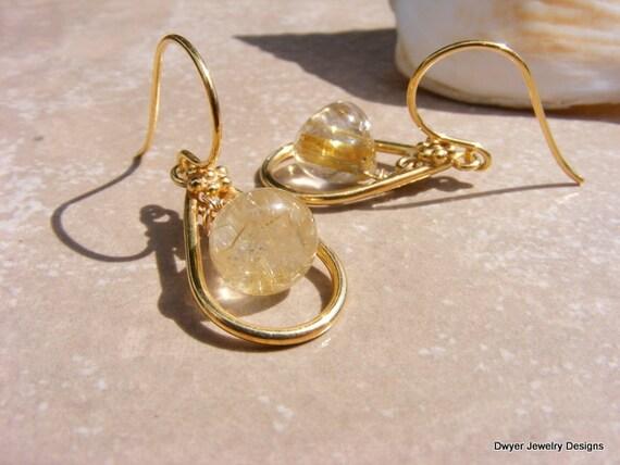 AAA Golden Rutilated Quartz Dangle Earrings.