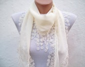 Turkish Fabric Scarf-Guipure Scarf -Cream-Fringed