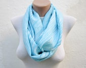 infinity scarf Loop scarf Neckwarmer Necklace scarf Fabric scarf  Blue White