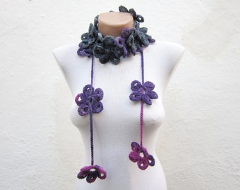 Crochet Lariat Scarf, Flower Lariat Scarves, Crocheted  Long Necklace, Floral Women Jewelry, Grey Purple, Christmas Gift, Winter Scarf