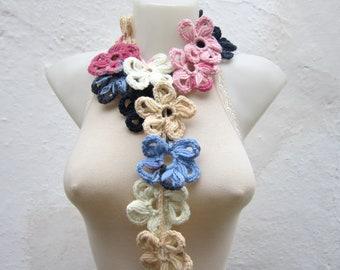 Scarf Lariat,Crochet Lariat Scarf,Flower Scarf,Crochet Jewelry