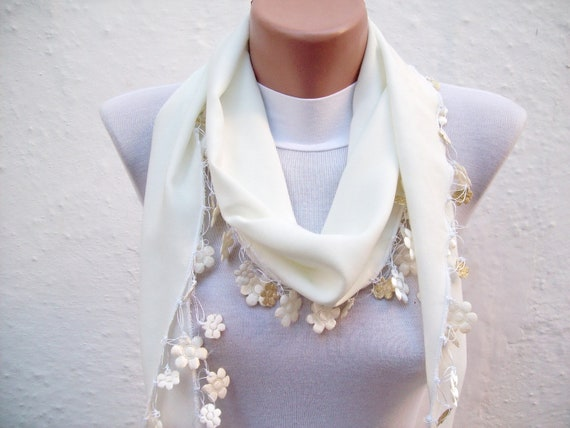 Handmade Traditional Turkish Fabric Scarf-Crochet Oya-cream-cotton scarf