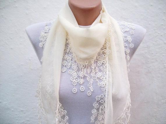 Turkish Fabric Scarf-Guipure Scarf -Cream-Fringed