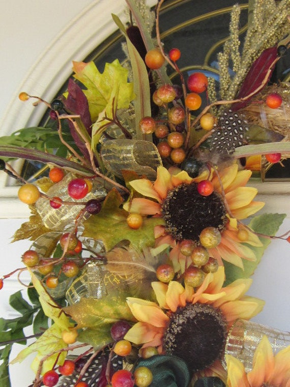 RESERVED for POWELLMANDU WiLDeRNeSS SuNFLoWeR SprinG Away with me says the FroG Wreath Home Decor