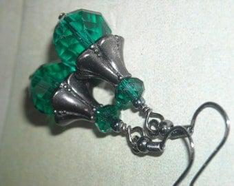 Teal Glass And Gun Metal Earrings - Graceful - Sparkling Shimmery Handmade Fashion Earrings Under 20