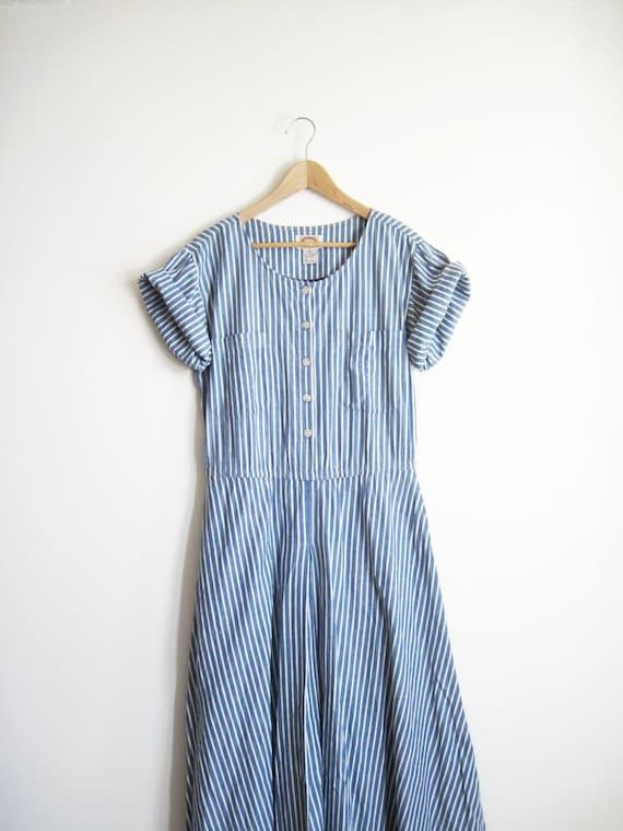 Vintage Banana Republic Oversized Striped Chambray Shirt Dress s-m