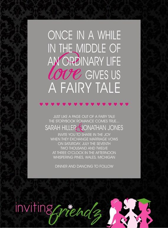 Unique Fairy Tale Printable Wedding Invitation with